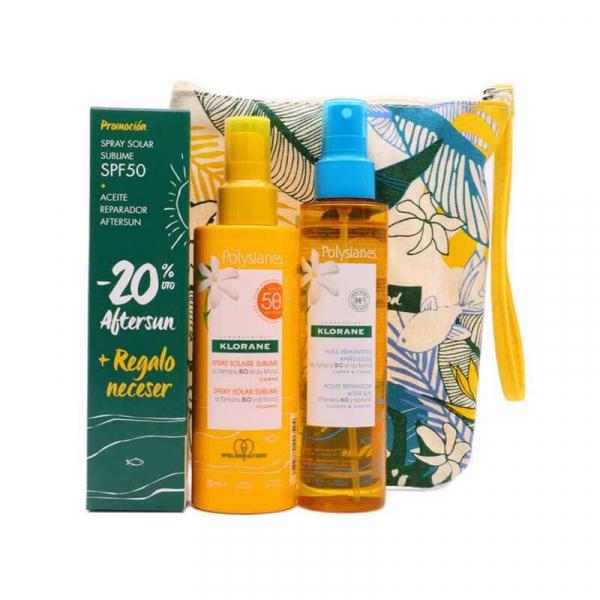 pack polysianes spray solar sublime spf50 200 ml aceite reparador aftersun 150 ml neceser