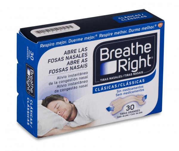 breathe right tiras nasales color carne talla grande 30 uds